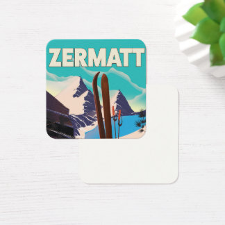 Zermatt Ski vacation poster Square Business Card