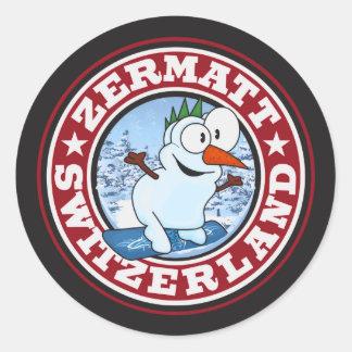 Zermatt Snowman Circle Round Sticker