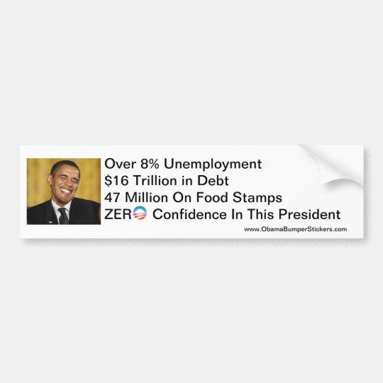 Zero Confidence Anti-Obama Bumper Sticker