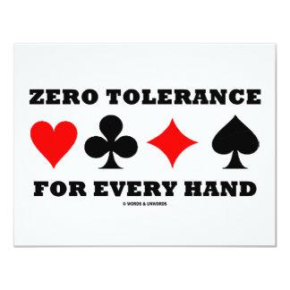 """Zero Tolerance For Every Hand 4.25"""" X 5.5"""" Invitation Card"""