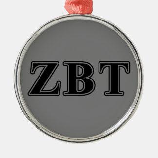 Zeta Beta Tau Black Letters Christmas Ornament