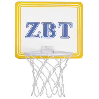 Zeta Beta Tau Blue Letters Mini Basketball Hoop