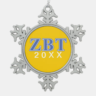 Zeta Beta Tau Blue Letters Snowflake Pewter Christmas Ornament