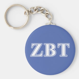 Zeta Beta Tau White and Blue Letters Key Ring