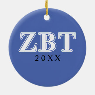 Zeta Beta Tau White and Blue Letters Round Ceramic Decoration