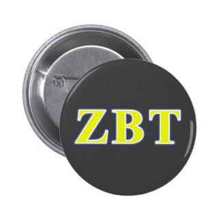 Zeta Beta Tau Yellow and Blue Letters 6 Cm Round Badge