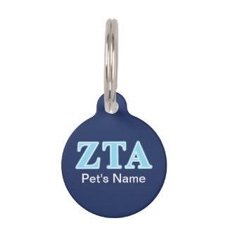 Zeta Tau Alpha Baby Blue Letters Pet Name Tag