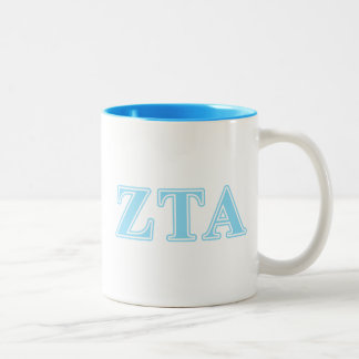 Zeta Tau Alpha Baby Blue Letters Two-Tone Coffee Mug