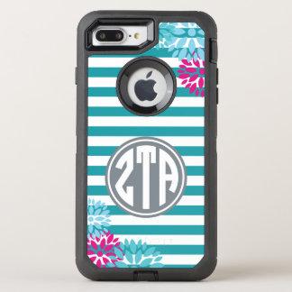 Zeta Tau Alpha   Monogram Stripe Pattern OtterBox Defender iPhone 8 Plus/7 Plus Case