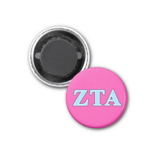 Zeta Tau Alpha Navy Blue and Baby Blue Letters 3 Cm Round Magnet