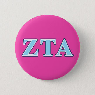 Zeta Tau Alpha Navy Blue and Baby Blue Letters 6 Cm Round Badge