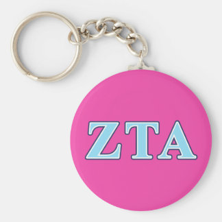 Zeta Tau Alpha Navy Blue and Baby Blue Letters Basic Round Button Key Ring
