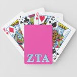 Zeta Tau Alpha Navy Blue and Baby Blue Letters Bicycle Poker Cards