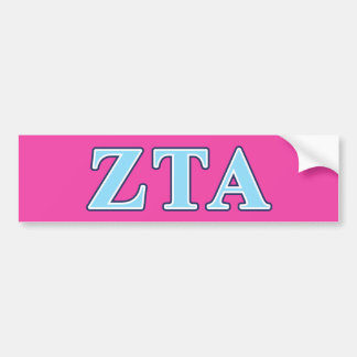 Zeta Tau Alpha Navy Blue and Baby Blue Letters Bumper Sticker