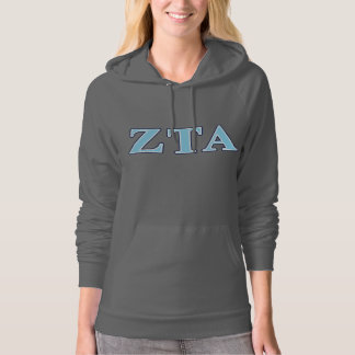 Zeta Tau Alpha Navy Blue and Baby Blue Letters Hoodie