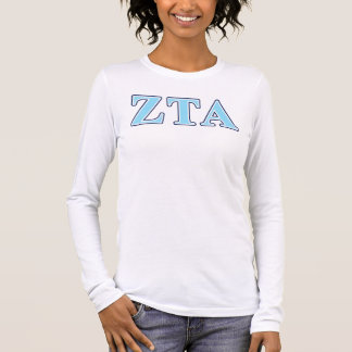 Zeta Tau Alpha Navy Blue and Baby Blue Letters Long Sleeve T-Shirt