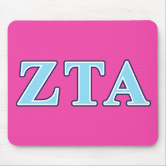Zeta Tau Alpha Navy Blue and Baby Blue Letters Mouse Mat