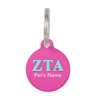 Zeta Tau Alpha Navy Blue and Baby Blue Letters Pet ID Tag