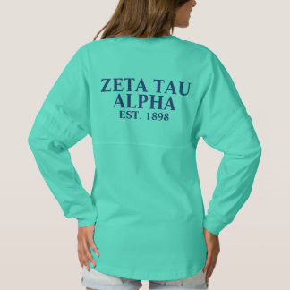 Zeta Tau Alpha Navy Blue and Baby Blue Letters Spirit Jersey