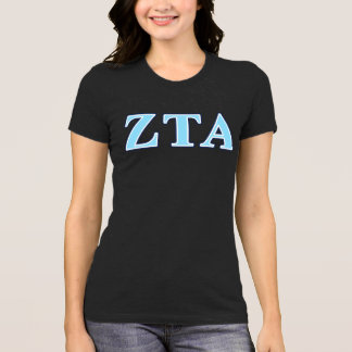 Zeta Tau Alpha Navy Blue and Baby Blue Letters T-Shirt
