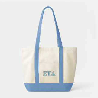 Zeta Tau Alpha Navy Blue and Baby Blue Letters Tote Bag
