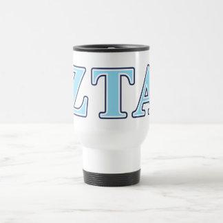 Zeta Tau Alpha Navy Blue and Baby Blue Letters Travel Mug