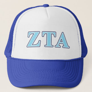 Zeta Tau Alpha Navy Blue and Baby Blue Letters Trucker Hat