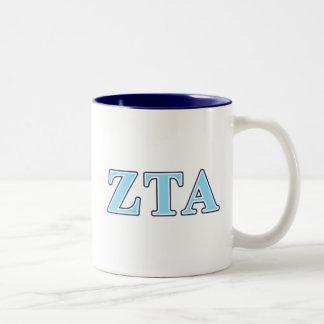 Zeta Tau Alpha Navy Blue and Baby Blue Letters Two-Tone Coffee Mug