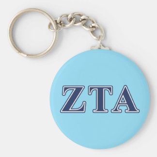 Zeta Tau Alpha Navy Letters Key Ring