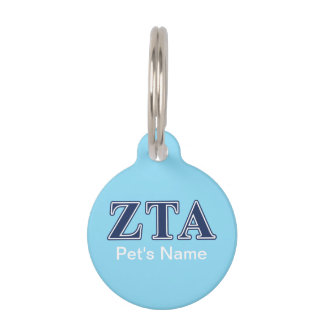 Zeta Tau Alpha Navy Letters Pet Name Tag