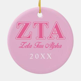Zeta Tau Alpha Pink Letters Christmas Ornament
