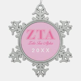 Zeta Tau Alpha Pink Letters Snowflake Pewter Christmas Ornament