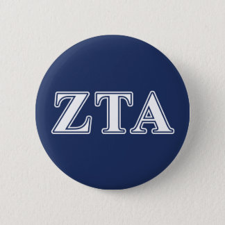 Zeta Tau Alpha White and Navy Blue Letters 6 Cm Round Badge