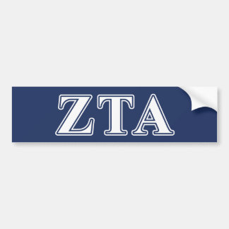 Zeta Tau Alpha White and Navy Blue Letters Bumper Sticker