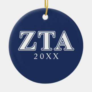Zeta Tau Alpha White and Navy Blue Letters Christmas Ornament