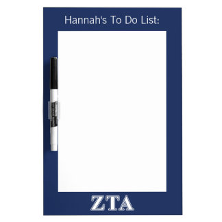 Zeta Tau Alpha White and Navy Blue Letters Dry Erase Board