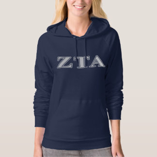 Zeta Tau Alpha White and Navy Blue Letters Hoodie