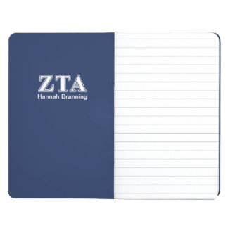 Zeta Tau Alpha White and Navy Blue Letters Journal
