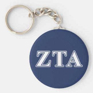 Zeta Tau Alpha White and Navy Blue Letters Key Ring