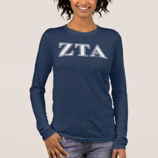 Zeta Tau Alpha White and Navy Blue Letters Long Sleeve T-Shirt