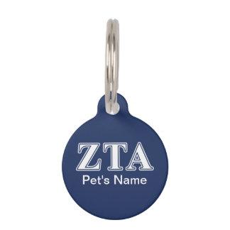 Zeta Tau Alpha White and Navy Blue Letters Pet Name Tag