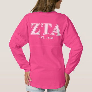 Zeta Tau Alpha White and Navy Blue Letters Spirit Jersey