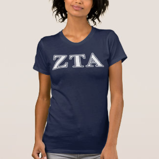 Zeta Tau Alpha White and Navy Blue Letters T-Shirt