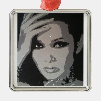Zhang Mi (Mimi) original pop art portrait Silver-Colored Square Decoration