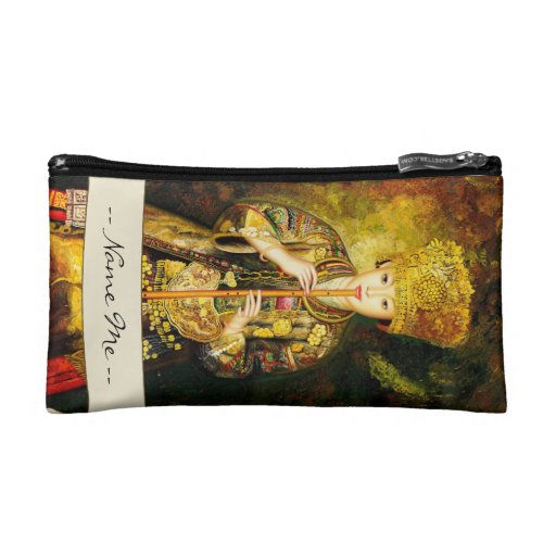 Zhangbo Hmong Culture Girl is Piping chinese lady Cosmetics Bags