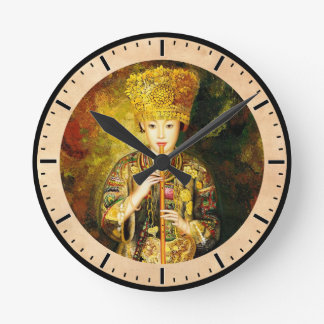 Zhangbo Hmong Culture Girl is Piping chinese lady Wall Clocks
