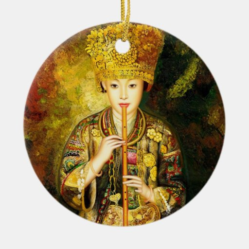 Zhangbo Hmong Culture Girl is Piping chinese lady Christmas Ornament
