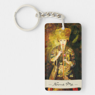 Zhangbo Hmong Culture Girl is Piping chinese lady Double-Sided Rectangular Acrylic Key Ring
