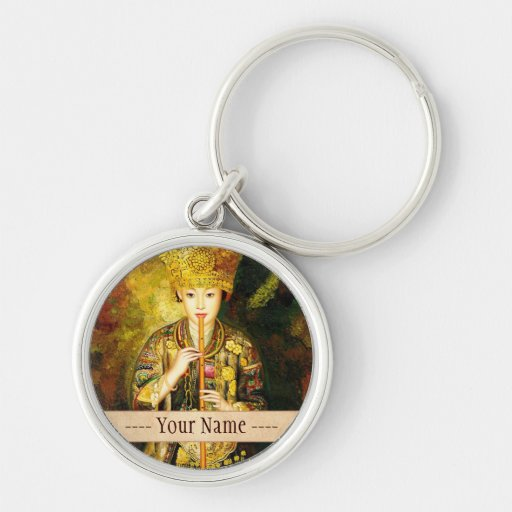 Zhangbo Hmong Culture Girl is Piping chinese lady Key Chains