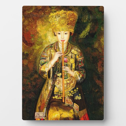 Zhangbo Hmong Culture Girl is Piping chinese lady Photo Plaque